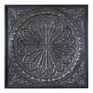 Embossed-Medallion-Square-Ornate-Mandala-Wall-Art-Old-World-Gothic-Metal-Plaque