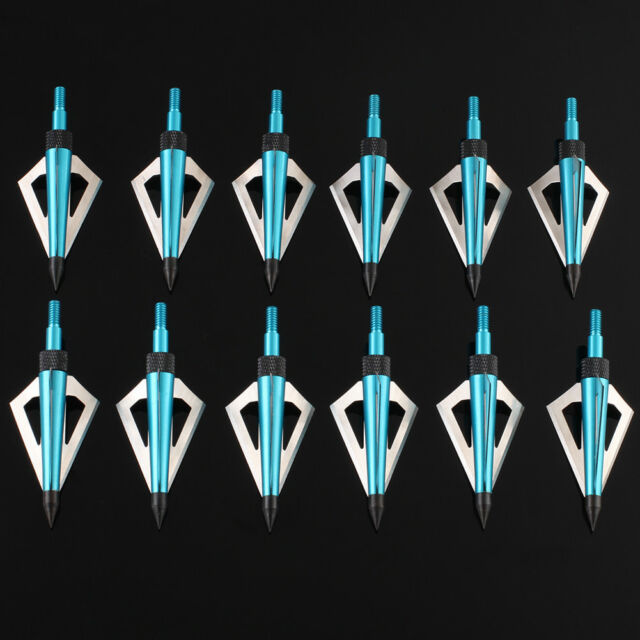 12pcs Blue 3 Blade Broadheads 125Grain Archery Arrow Head Hunting Tips