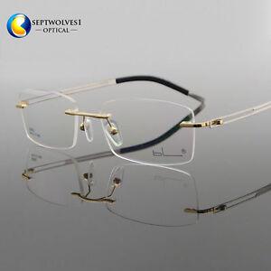 db44a087db1 Men s Titanium Alloy Rimless Flexible Myopia Eyeglasses Frames ...