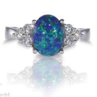 Australian Dark Blue Fire Opal W/ White Sapphire Cz Genuine Sterling Silver Ring