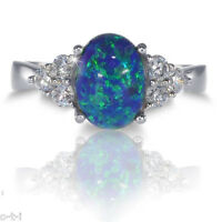 Australian Dark Blue Fire Opal W/ White Sapphire Cz Genuine Sterling Silver Ring