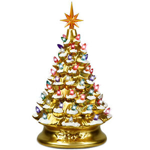 15-034-Prelit-Hand-Painted-Ceramic-Tabletop-Christmas-Tree-Battery-Powered-Gold