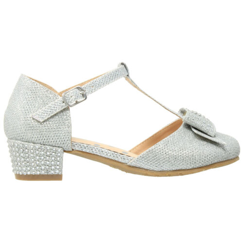 Girls Pumps Low Heel Shoes T-Strap Bow Accent Glitter Rhinestone Mary Jane Heels