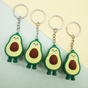 Fashion Simulation Fruit Avocado Smile Keychain 3D Resin Key Chains Jewelry N_N