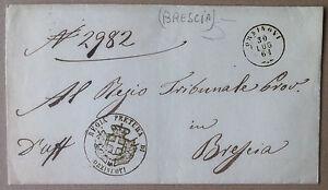 Prefilatelia - 1861 - Busta da Orzinuovi a Brescia - annullo rotondo rosso