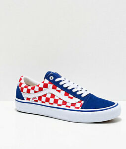 Details about Brand New Vans Old Skool Pro Blue, Red & White Checkerboard  Skate Athletic Shoes
