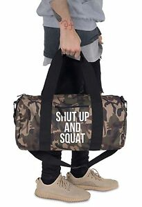 Image Is Loading Shut Up And Squat Barrel Gym Bag Duffel