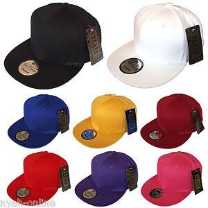 NEW-PLAIN-SNAPBACK-CAP-BLACK-BASEBALL-HIP-HOP-ERA-RETRO-FITTED-FLAT-PEAK-HAT