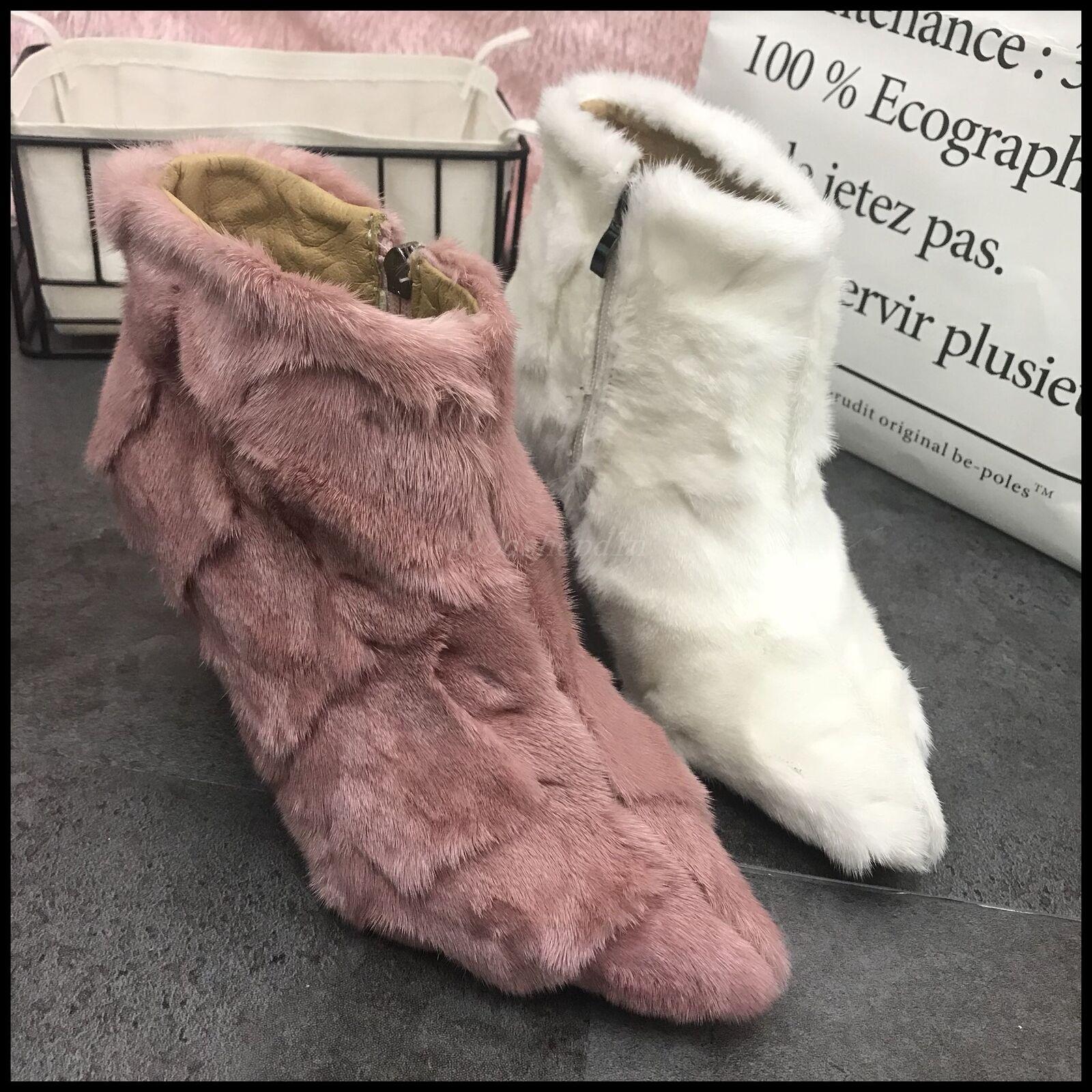 donna Real Mink Fur Ankle stivali Kitten Heels Winter Furry Warm Pointy Toe scarpe