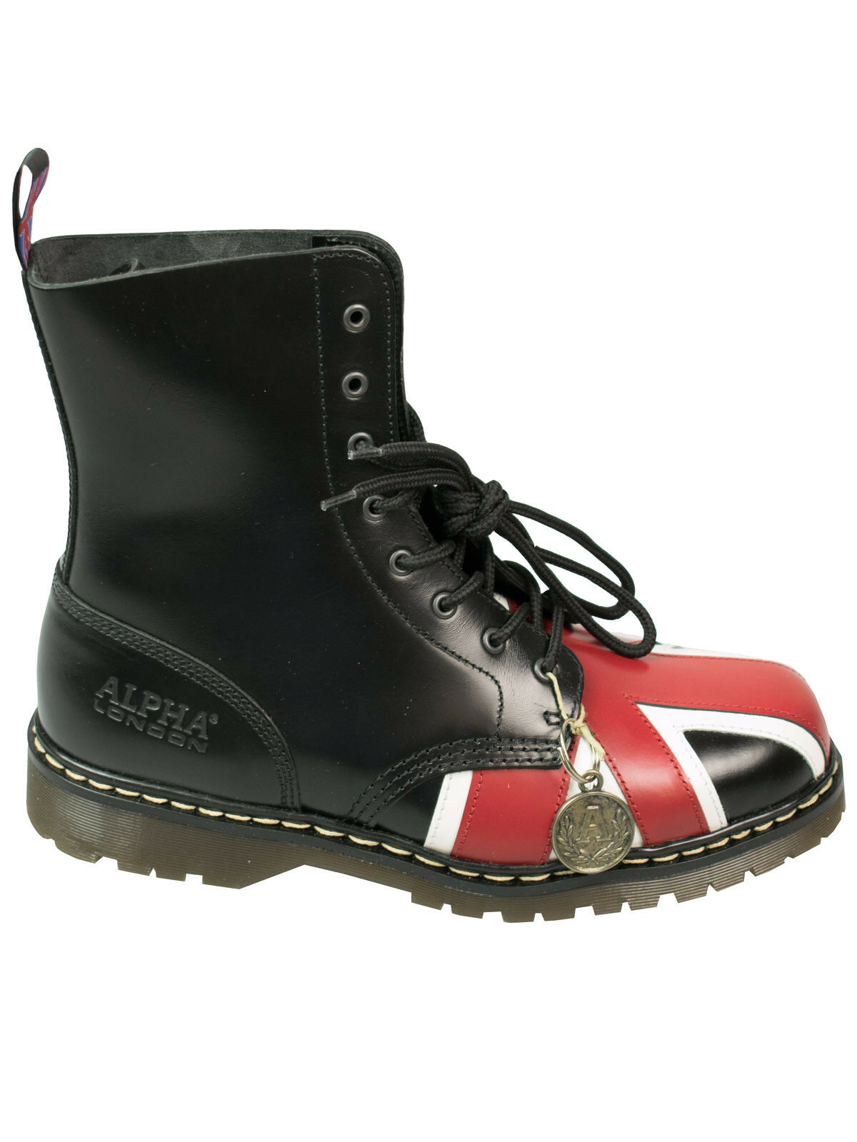 Alpha London 8-Loch Stiefel Stiefel Union Jack UK Flag Schwarz England Fahne  5004