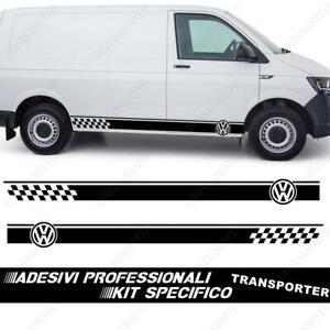 Pair-Adhesive-Strips-Sides-Logo-Volkswagen-for-Transporter-T4-T5-Black