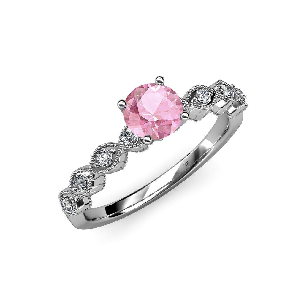 Pink Tourmaline & Diamond Milgrain Work Solitaire Plus Ring in 14K gold JP 57113