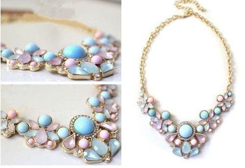 Hot Fashion Elegant Water Drop Resin Rhinestone Flower Statement Choker Necklace