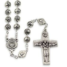 NEW MADE IN ITALY POPE FRANCIS SILVER METAL ROSEBUD BEAD ROSARY W/ VEDELE CROSS