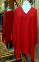 Dairi Moroccan Sousdi Fabric V-neck Long Tunic Top 2 Pockets One Size Fits L-3x