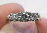 14K WHITE GOLD 3 DIAMOND ESTATE RING SIZE 7  NO RESERVE