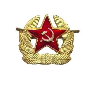 RUSSIAN MILITARY OFFICERS BADGE genuine gold wreath red star Soviet army pin