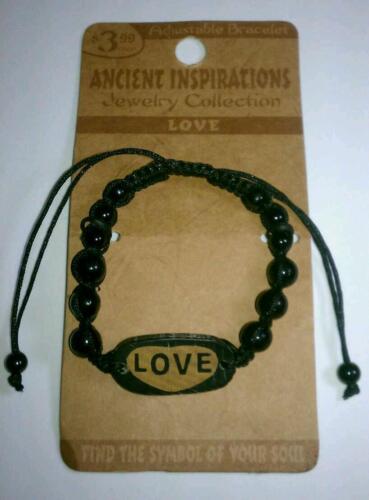 NEW VINTAGE LIKE LOVE SYMBOL ANCIENT INSPIRATIONS ADJ BLACK BEADED BRACELET