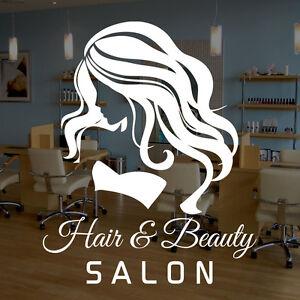 Woman Hair Beauty Salon Vinyl Window Sticker Decal