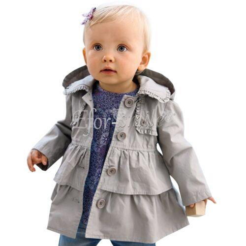 Baby Mädchen Kinder Jacke Trenchcoat Herbst Winter Mantel mit Kapuzen Outerwear
