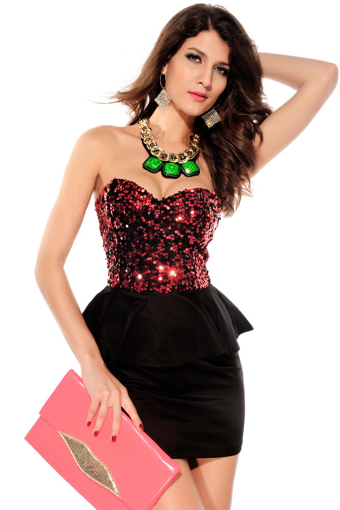 schwarz rot Sequin Cocktail Tierot Peplum Mini Tube Clubwear Dress Large 2741