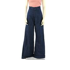 Vintage 70s Dark Navy Blue Denim Wide Legged High Waist Hippie Bell Bottom Jeans