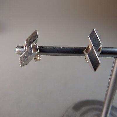 Paar Kleine Design Ohrstecker Signiert Silber - Ungetragen (22471) Hoher Standard In QualitäT Und Hygiene