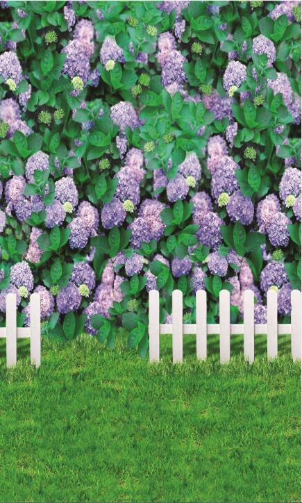 3D Purple flower fence Wall wall Paper Print Decal Wall Deco Indoor wall Mural