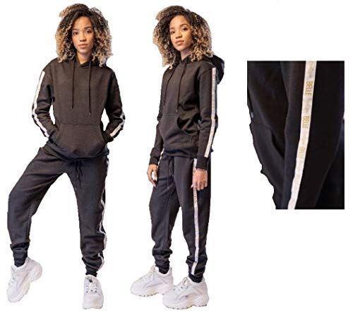 Ladies Lounge Jogging Hooded Fleece Lined Pant Tracksuit Set Hoodie Sport Yoga