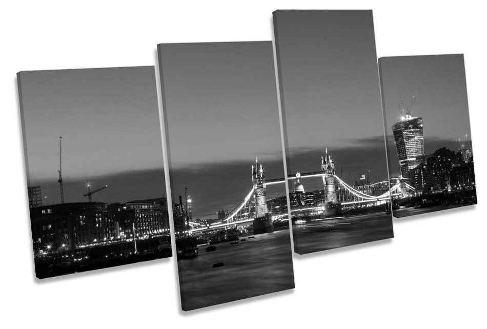 City of London Tower Bridge Skyline B&W MULTI CANVAS WALL ART Framed Panel