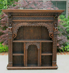 Antique-English-Oak-Gothic-Renaissance-Wall-Shelf-Display-Cabinet-Bookcase-LARGE