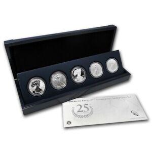 2011 American Silver Eagle 25th Anniversary Silver 5 Coin Set (w/Box and COA)