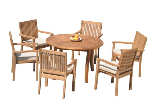 "DSLV A-Grade Teak 7pc Dining Set 48"" Round Table 6 Stacking Arm Chairs Outdoor"