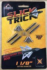 "SLICK Trick Magnum Deep Six Lame Fixe Broadhead 1-1//8/"" 100 Grain 4//Pack"