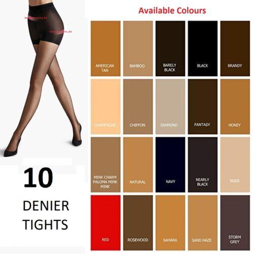 1//3//6 X Pairs Womens//Ladies 10 Denier Ultra Sheer Luxury Tights Fit 36-42/'/' Hips