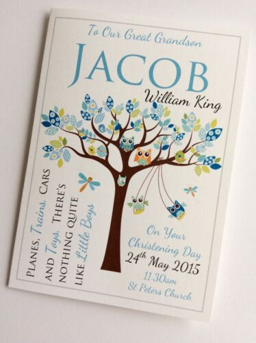 Owls in Tree Personalised Handmade Boys Christening Baptism Naming Day Card