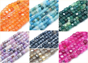 5-6mm-Natural-Agate-Beads-Steinperlen-72Stueck-Faedelloch-1mm-Wuerfel-Cube