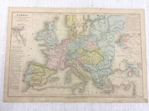 1877-Antique-Map-of-Europe-Hand-Coloured-Ottoman-Russian-French-Austrian-Empire