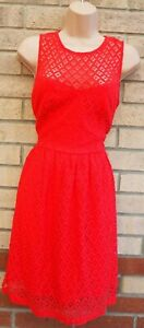 NEW-LOOK-RED-LACE-CROCHET-A-LINE-SLEEVELESS-SKATER-FLIPPY-TEA-RARE-DRESS-10-S