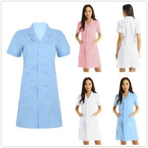 Lab Coat Doctor Nurse Hospital Workwear Shirts Womens Mens Long Jackets Uniform