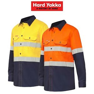 Mens-Hard-Yakka-Koolgear-Long-Sleeve-Work-Shirt-Hi-Vis-Taped-Lightweight-Y07740