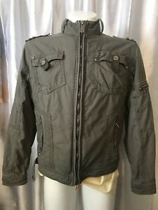 X-RAY-Army-Green-KHAKI-COTTON-Cargo-JACKET-3-034-rip-shoulder-Distressed-LOoK