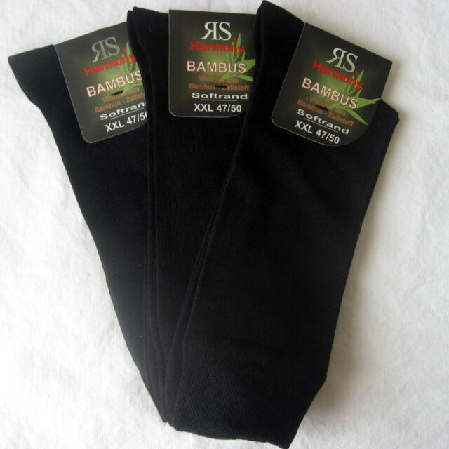 3 Paar Herren Bambus Socken ohne Gummi mit Softrand XXL schwarz  47 - 50