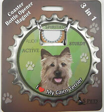 Cairn Terrier dog coaster magnet bottle opener Bottle Ninjas magnetic