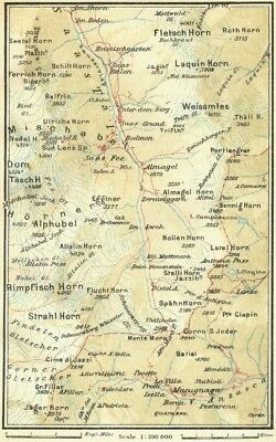 2019 New Style Italy. Saas-macugnaga 1923 Old Vintage Map Plan Chart