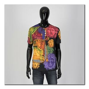 VERSACE-695-Authentic-New-Black-Medusa-Printed-Cotton-Tshirt