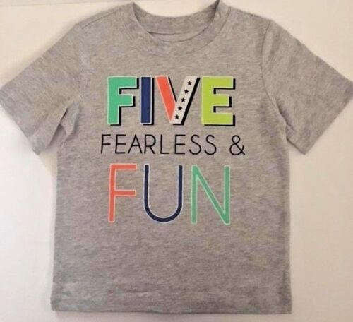 New Toddler T Shirt Five Fearless And Fun Size 5T Gray By Carters