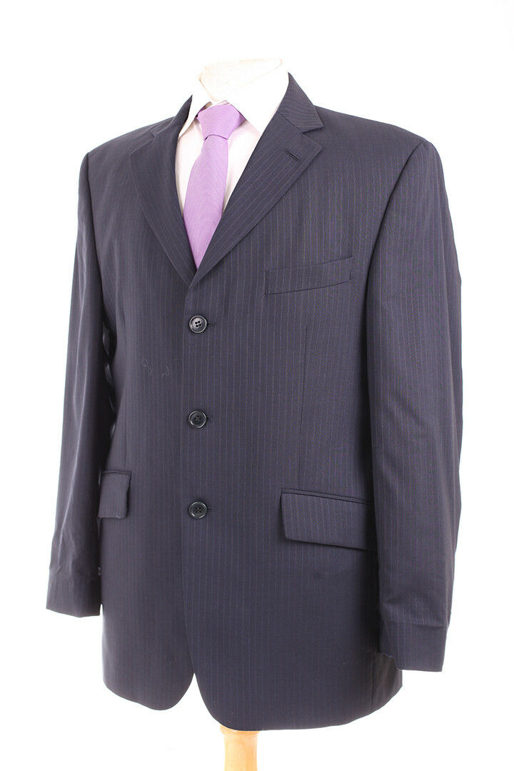 M&S TRAVEL NAVY PINSTRIPE MEN'S SUIT 40R DRY-CLEANED