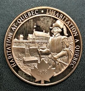 1608 Habitation at Quebec: 1970 History of Canada Proof Bronze Medal