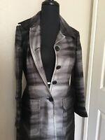 Made In France Bcbg Coat 2 Tone Sleek Wool Silk Button Down Sxs